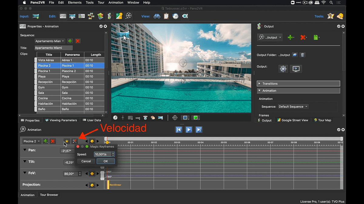 Determinar la velocidad de rotación antes de crear un key frame mágico en Pano2VR