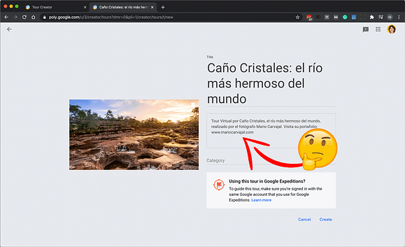 En la descripción de la visita virtual de Google Tour Creator puedo hacer linkbuilding