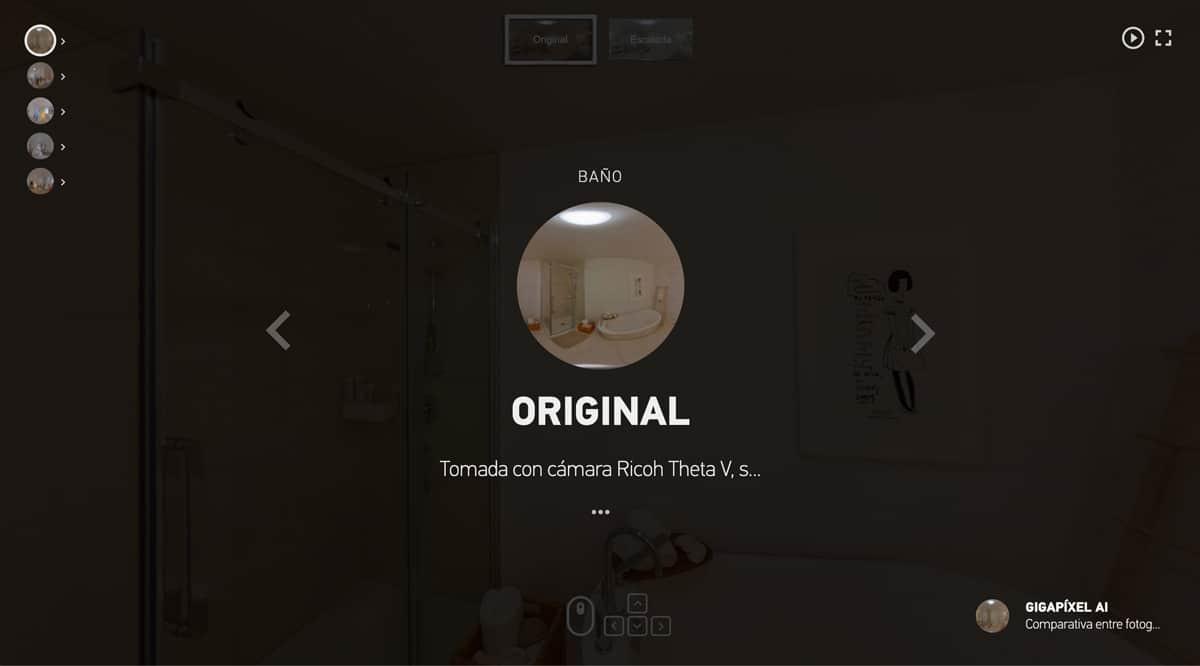 Tour Virtual Comparativo, Ricoh Theta V original vs mejorado con Gigapíxel AI