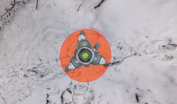 Huella de nadir de 42 grados producida por un trípode Manfrotto