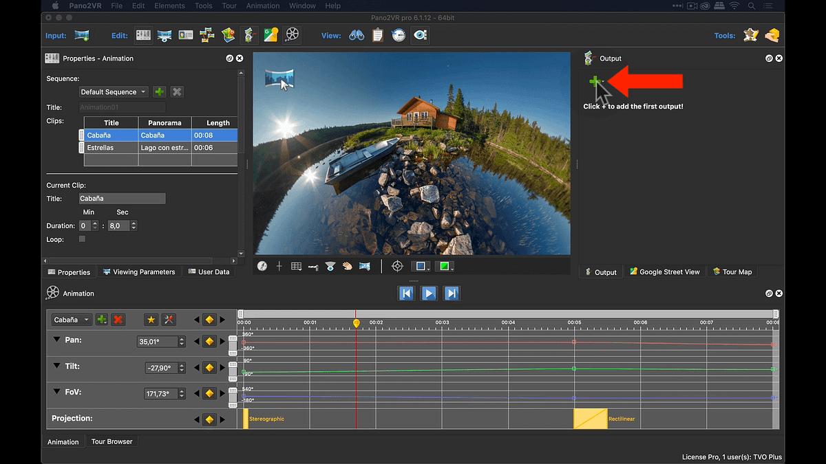 Crear archivo de video desde el panel Output de Pano2VR
